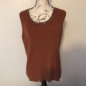 🆕 Chico's Brown Tank Top with sequins Size 3